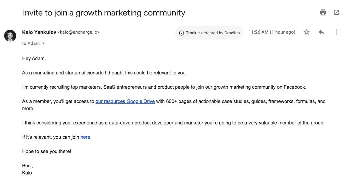 Email snapshot