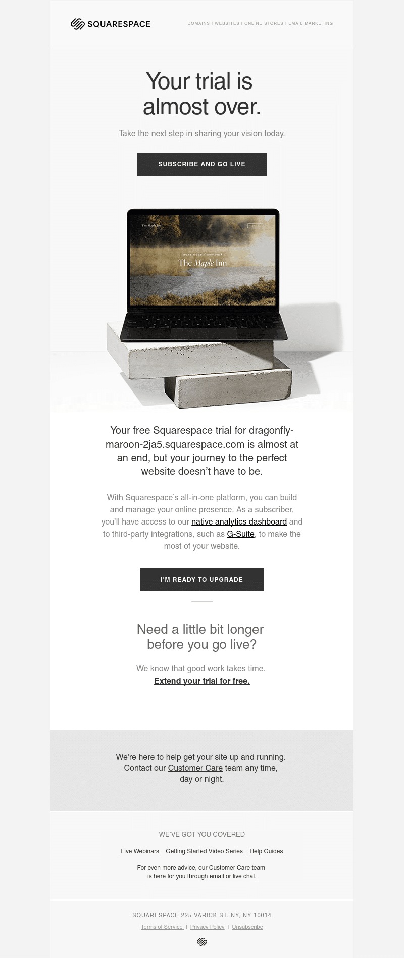 Squarespace user onboarding email example