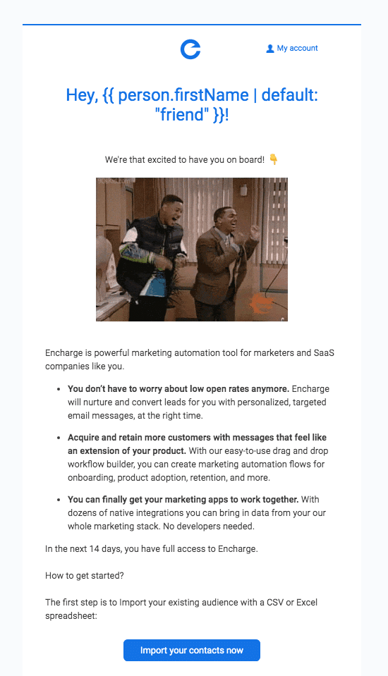 Encharge user onboarding email example