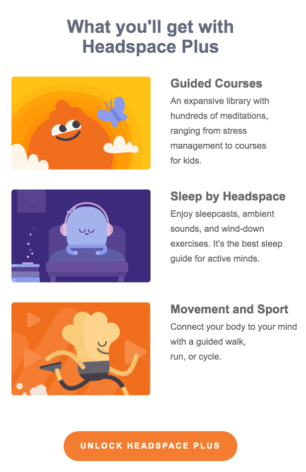 Headspace user onboarding email example