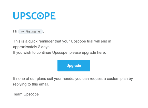 Upscope user onboarding email example