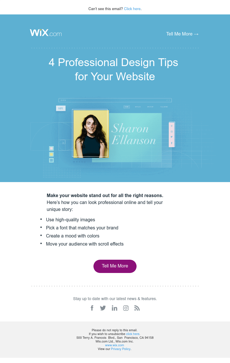 Wix user onboarding email example