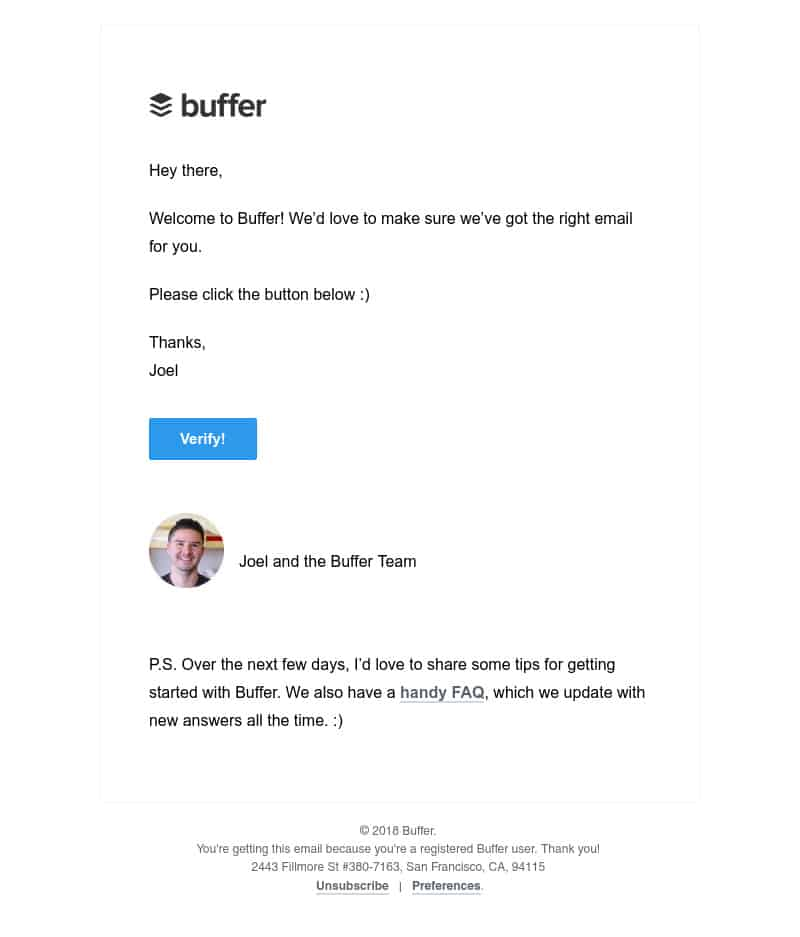 Buffer welcome message screenshot