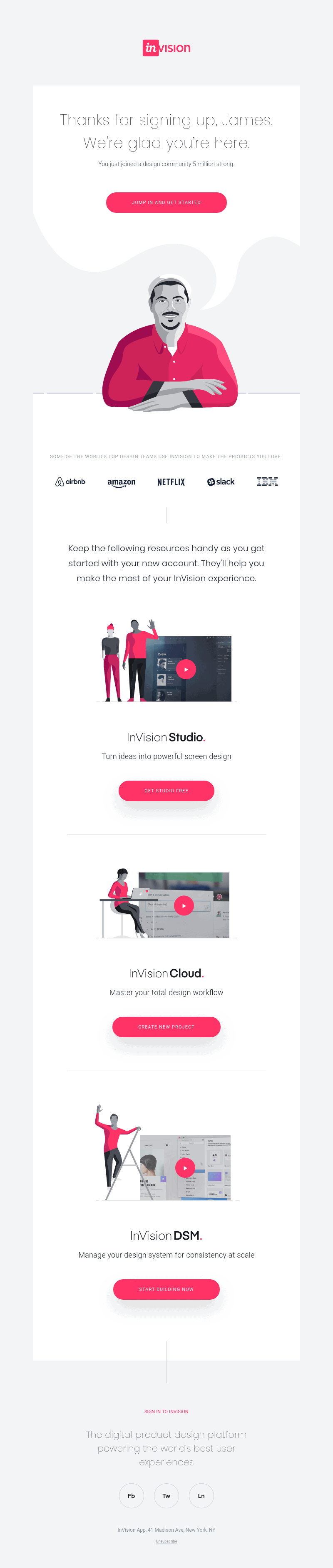 Invision Welcome message