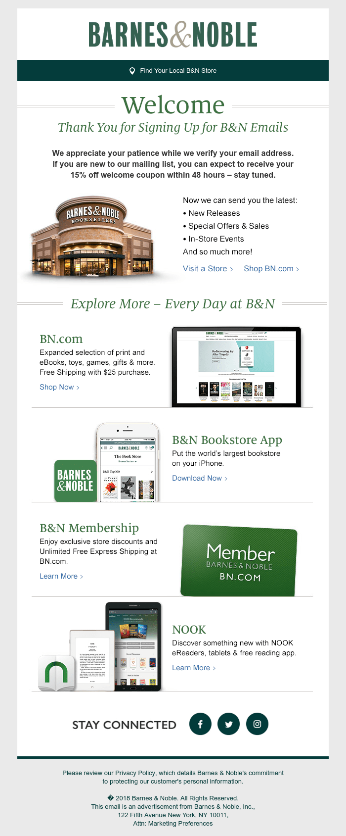 Welcome message screenshot from Barnes & Noble