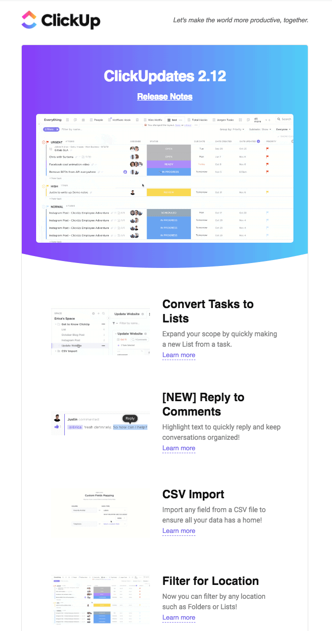 Automated email template —  Product Updates
