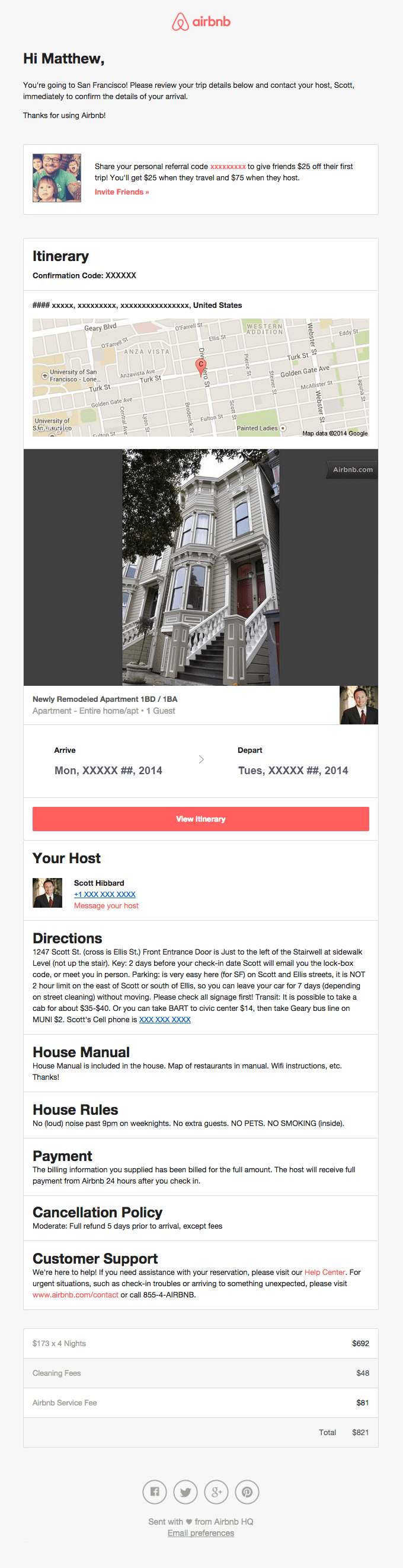 Automated email template — AirBnB confirmation