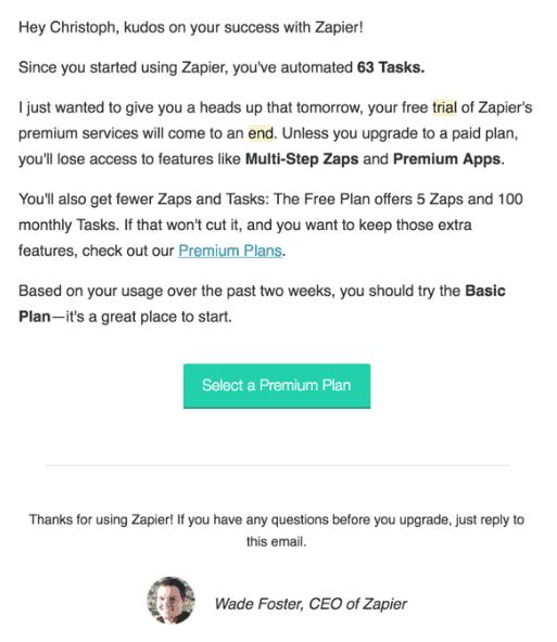 Zapier upgrade email