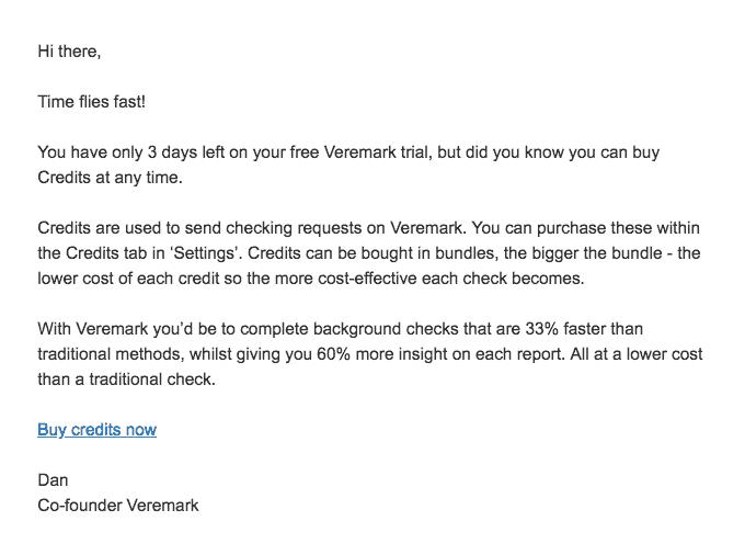 Veremark credit details email