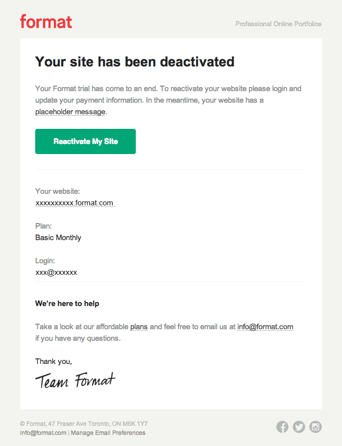 Format account deactivated email