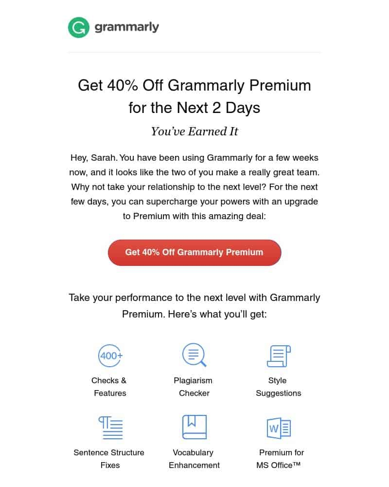 Grammarly trial email with discount