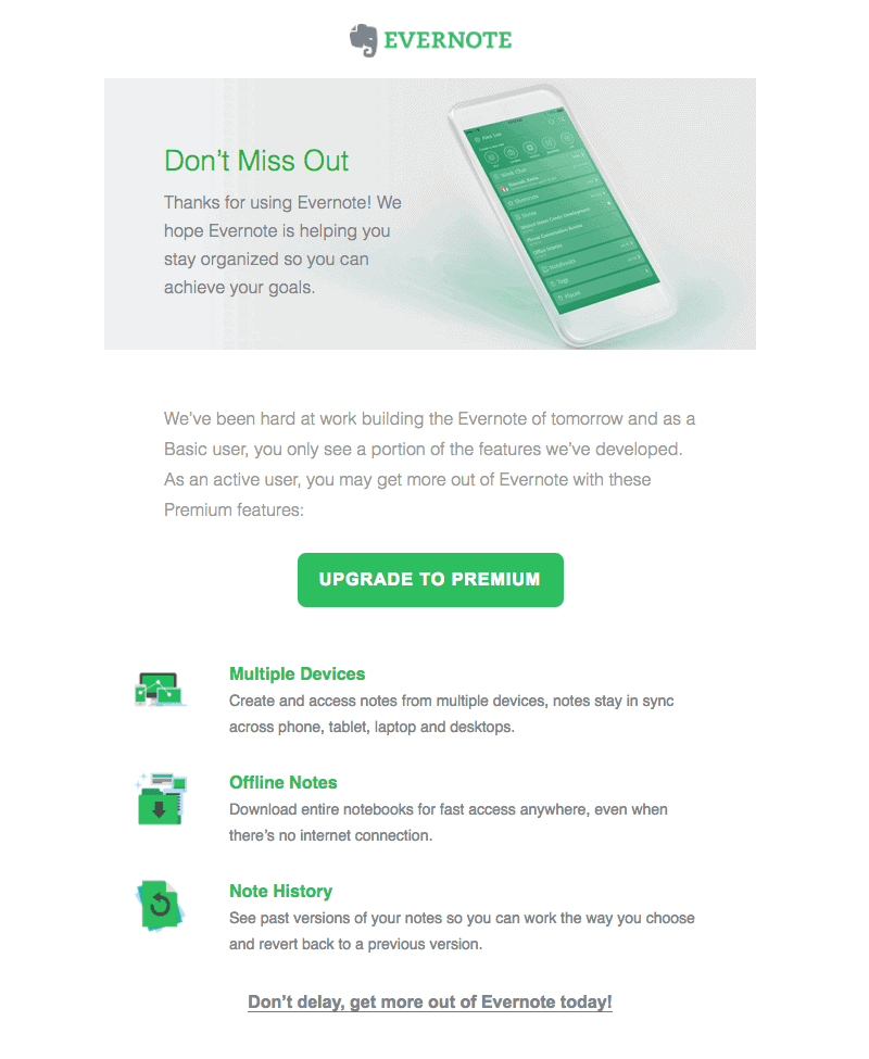 Evernote upgrade email