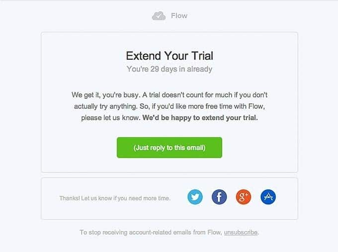 trial extension retention email design from flow 1