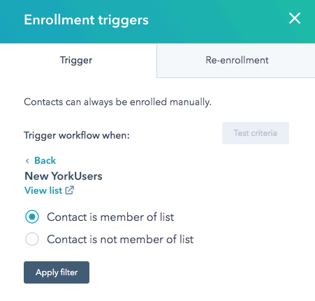 markerting automation trigger in HubSpot