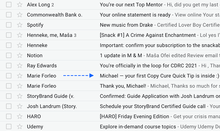 Personalization in subject line example