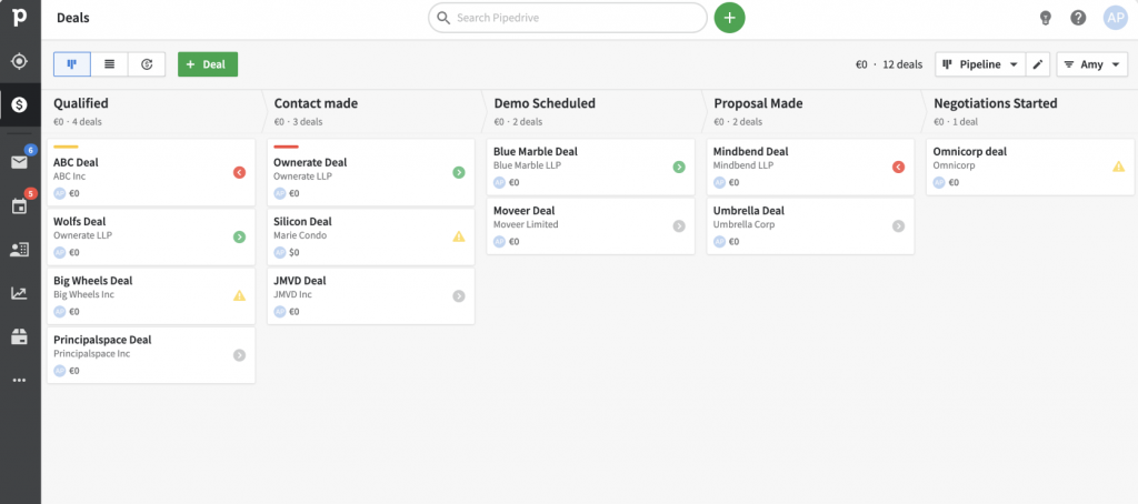 Pipedrive CRM interface
