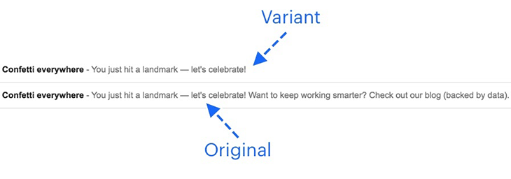 A/B testing preview text